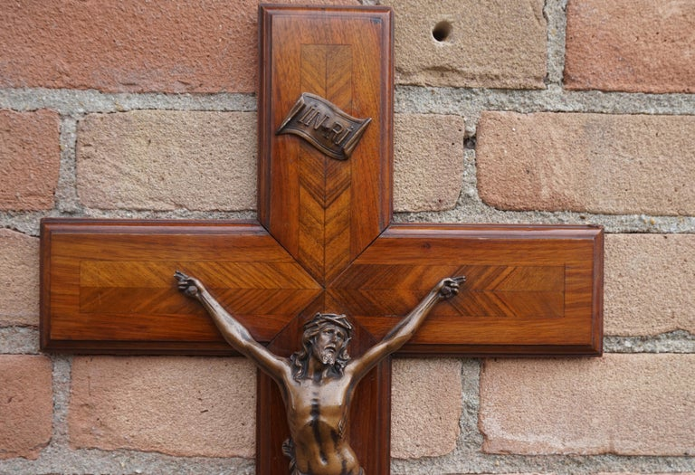 Stunning Mahogany & Kingwood Inlaid Crucifix with a Bronzed Corpus of Christ For Sale 8