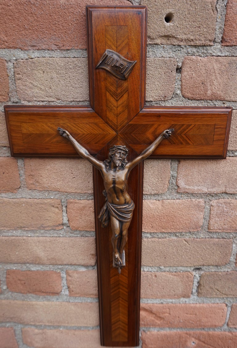Stunning Mahogany & Kingwood Inlaid Crucifix with a Bronzed Corpus of Christ For Sale 11