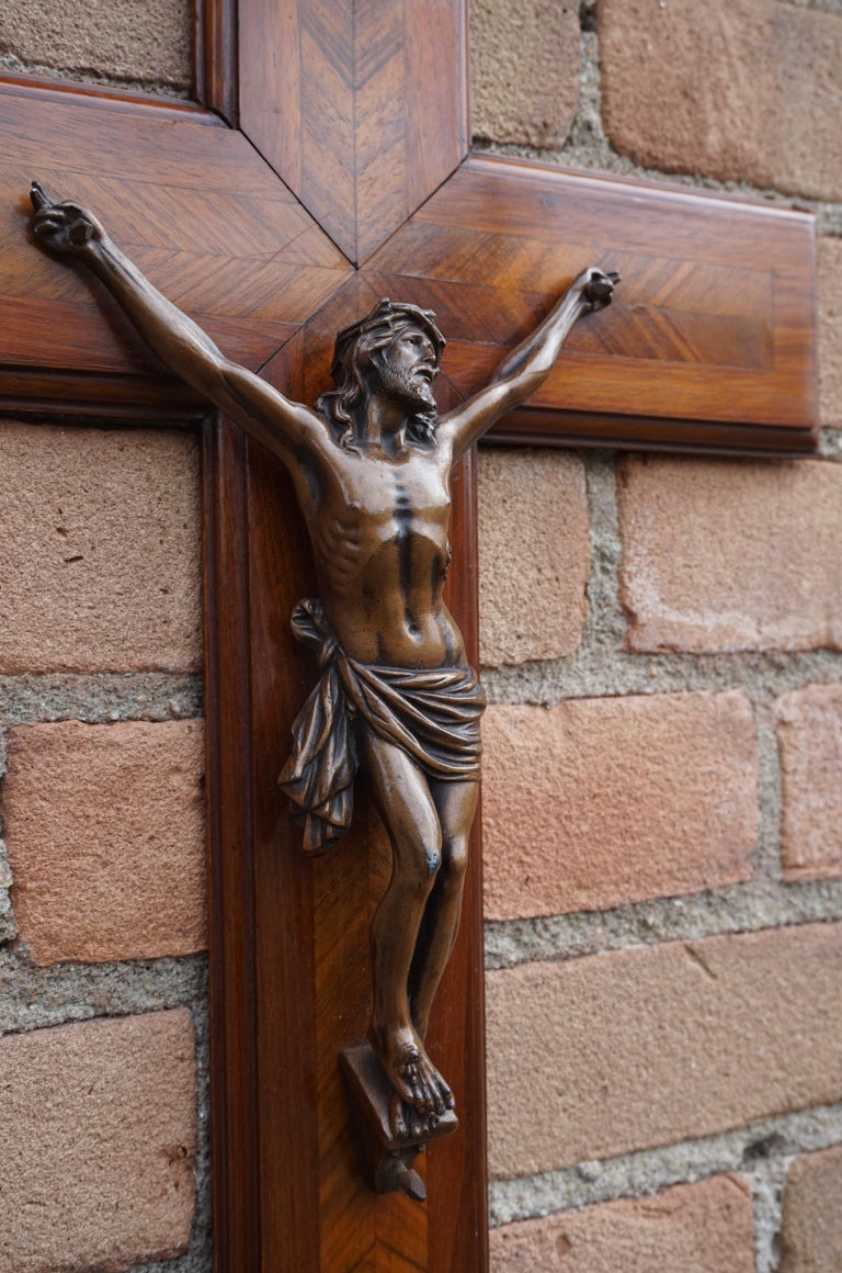 French Stunning Mahogany & Kingwood Inlaid Crucifix with a Bronzed Corpus of Christ For Sale
