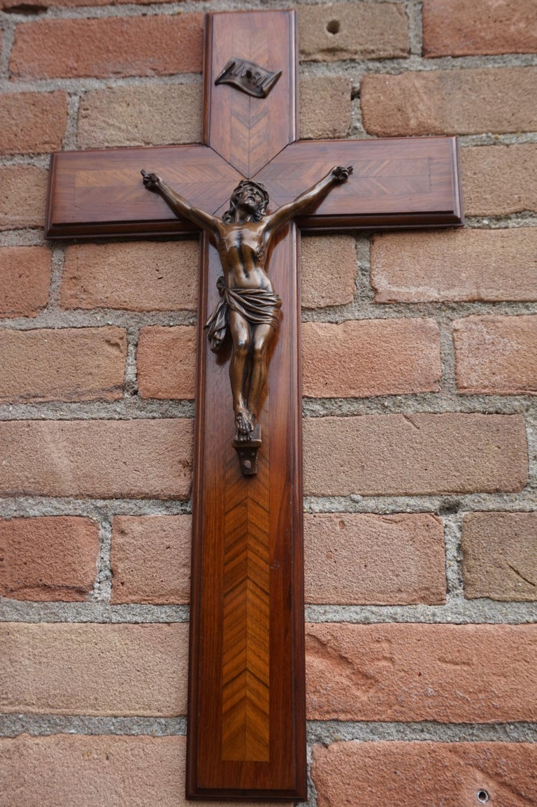 Stunning Mahogany & Kingwood Inlaid Crucifix with a Bronzed Corpus of Christ For Sale 1