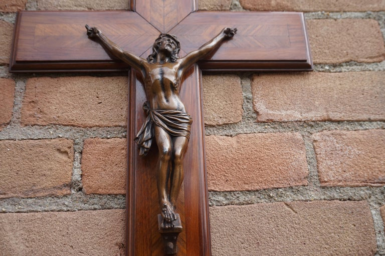 Stunning Mahogany & Kingwood Inlaid Crucifix with a Bronzed Corpus of Christ For Sale 3