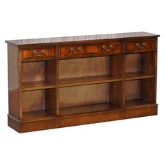 Stunning Mahogany Library Sideboard with Three Long Drawers & Bookcase Shelves