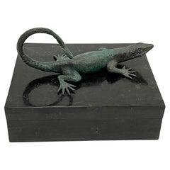 Stunning Maitland Smith Tessellated Stone Box with Bronze Lizard Handle