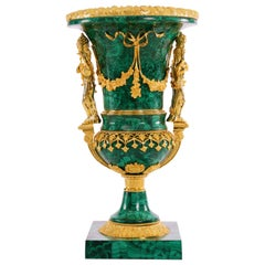 Stunning Malachite and Brass Vase