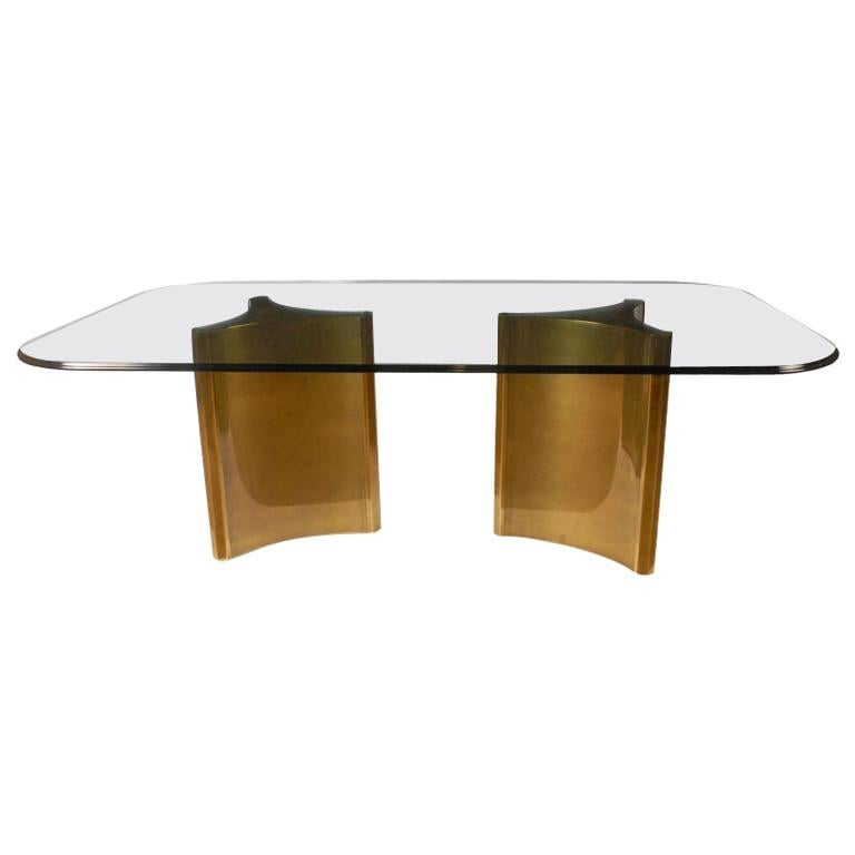 """Stunning Mastercraft Double """"Trilobi"""" Pedestal Brass and Glass Dining Table For Sale"""