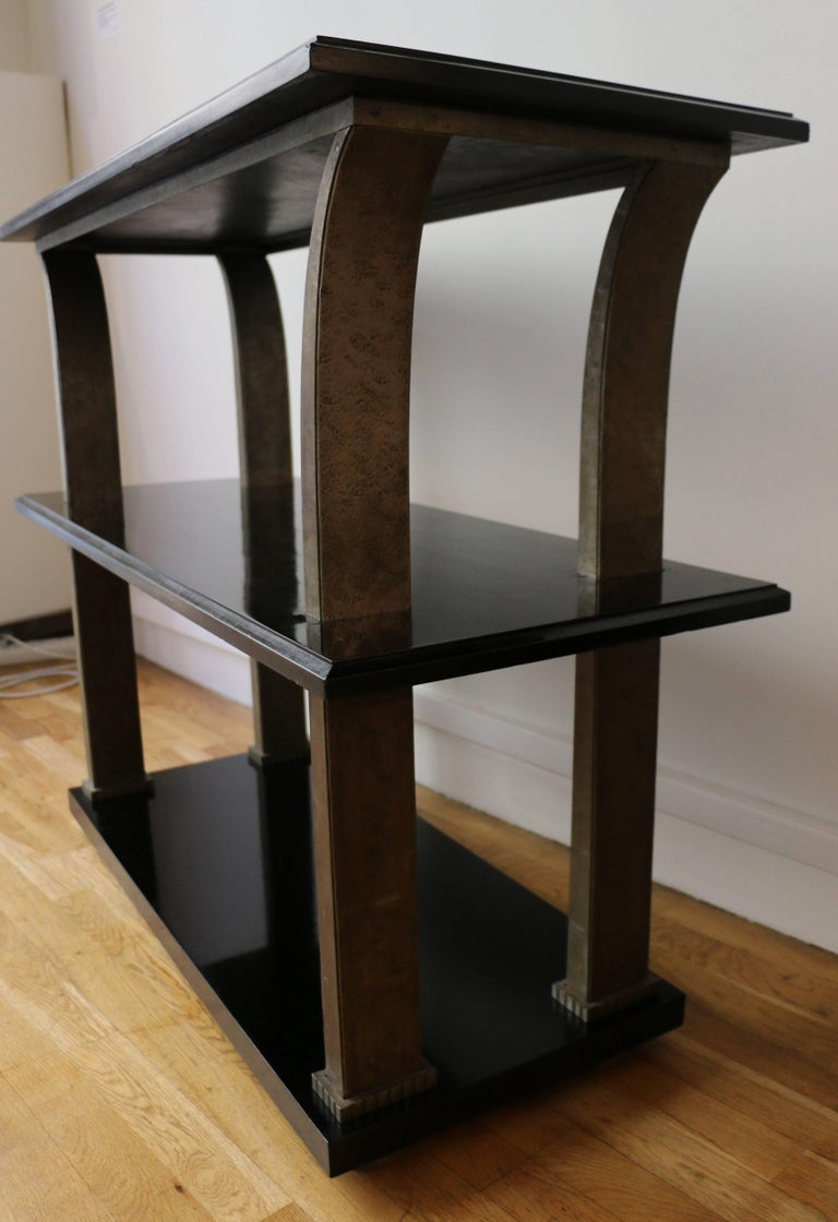 French Stunning Metal and Wood Console by Edgar Brandt, Art Deco, France, 1920s For Sale