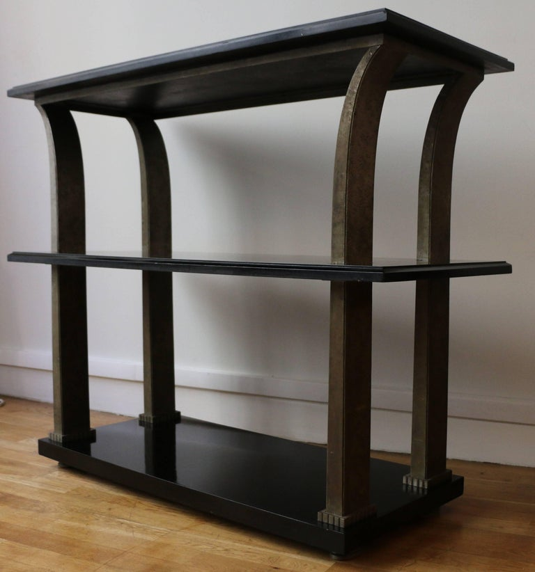 Stunning Metal and Wood Console by Edgar Brandt, Art Deco, France, 1920s In Good Condition For Sale In Paris, FR