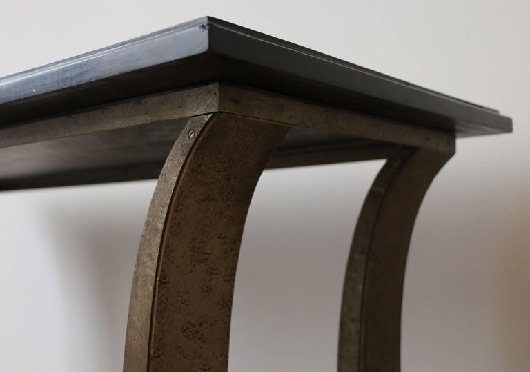 Stunning Metal and Wood Console by Edgar Brandt, Art Deco, France, 1920s For Sale 3