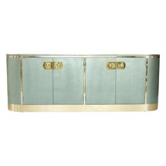 Stunning Metallic Lacquer and Polished Brass Sideboard/Credenza by Mastercraft