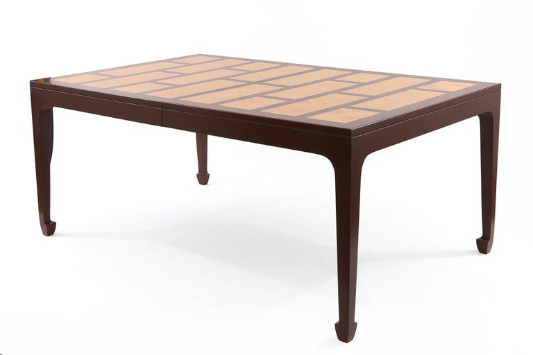 Mid-Century Modern Michael Taylor for Baker 1960s Maple & Burl Dining Table For Sale