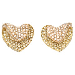 Stunning Microset Two-Tone Diamond Heart Shape Stud Earrings in 18K Y and R Gold