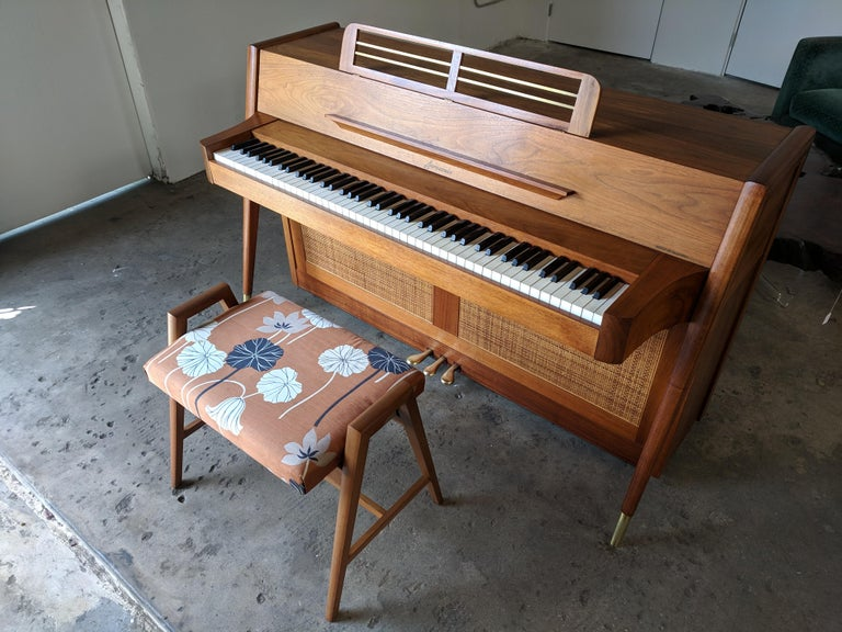 Stunning Midcentury Baldwin Acrosonic Spinet Piano with Matching Bench For Sale 5