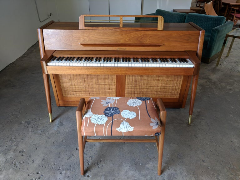 Stunning Midcentury Baldwin Acrosonic Spinet Piano with Matching Bench For Sale 7