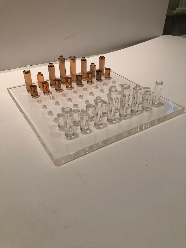 American Stunning Mid-Century Modern Lucite Chess Set For Sale