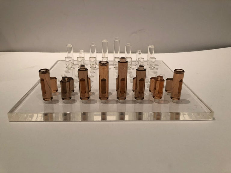 Mid-20th Century Stunning Mid-Century Modern Lucite Chess Set For Sale
