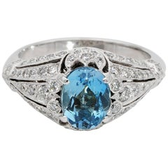 Stunning Midcentury Aquamarine and Diamond 18 Karat Rare Ring