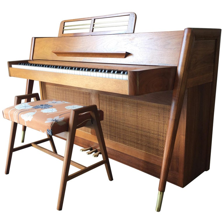 Stunning Midcentury Baldwin Acrosonic Spinet Piano with Matching Bench For Sale