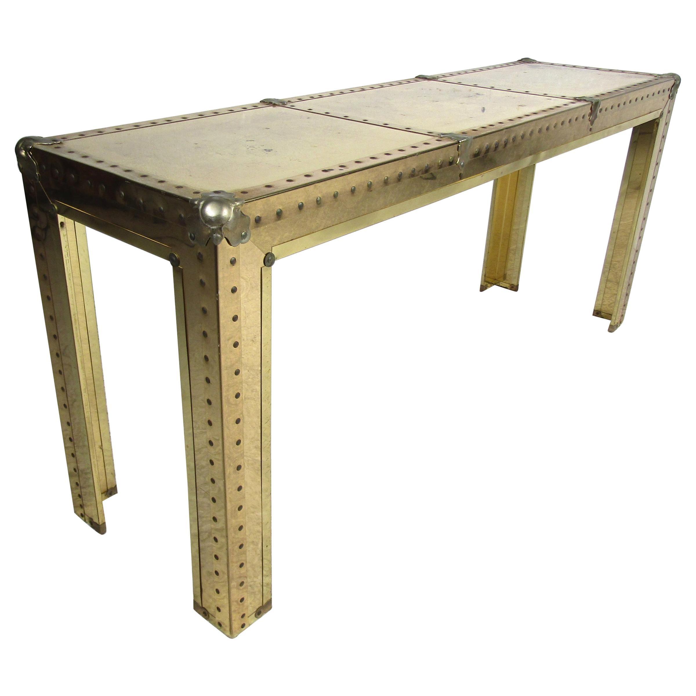 Stunning Midcentury Brass Console Table