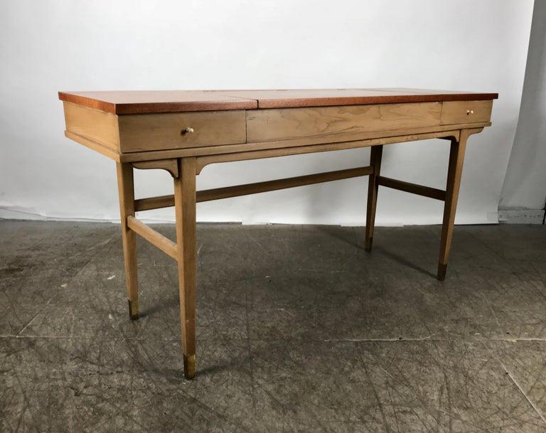 Brass Stunning Midcentury Desk or Vanity, Console, John Widdicomb For Sale