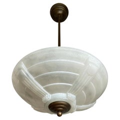 Stunning Midcentury Made French Art Deco Style Glass & Brass Two Light Pendant