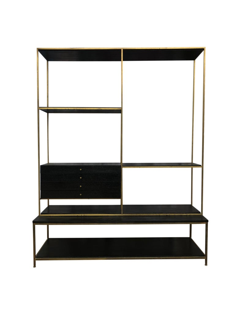 Stunning Midcentury Paul McCobb Calvin Irwin Brass Room Divider Shelf Wall Unit For Sale 8