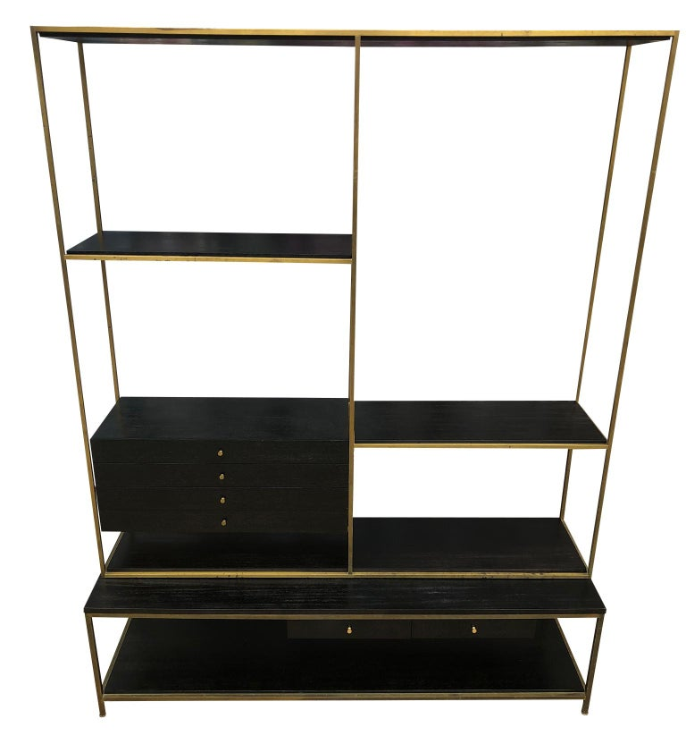 Midcentury American designer Paul McCobb freestanding brass room divider for Calvin. Units #7905 & #9305 with black lacquer finish. This unit is in Beautiful vintage condition - Has (4) upper drawers and (2) lower drawers - All mahogany with a Black
