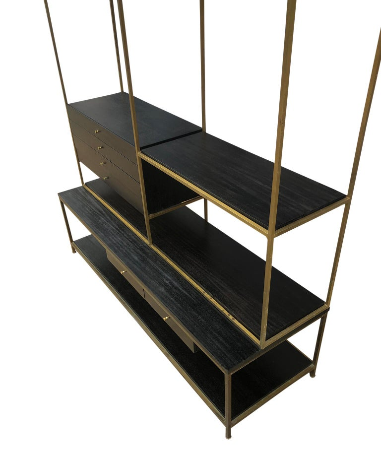 Mid-Century Modern Stunning Midcentury Paul McCobb Calvin Irwin Brass Room Divider Shelf Wall Unit For Sale