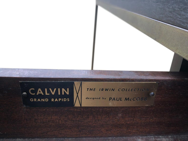 Stunning Midcentury Paul McCobb Calvin Irwin Brass Room Divider Shelf Wall Unit For Sale 2