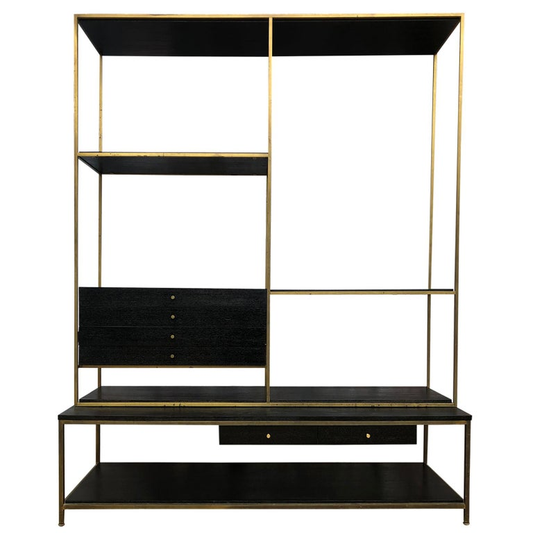Stunning Midcentury Paul McCobb Calvin Irwin Brass Room Divider Shelf Wall Unit For Sale