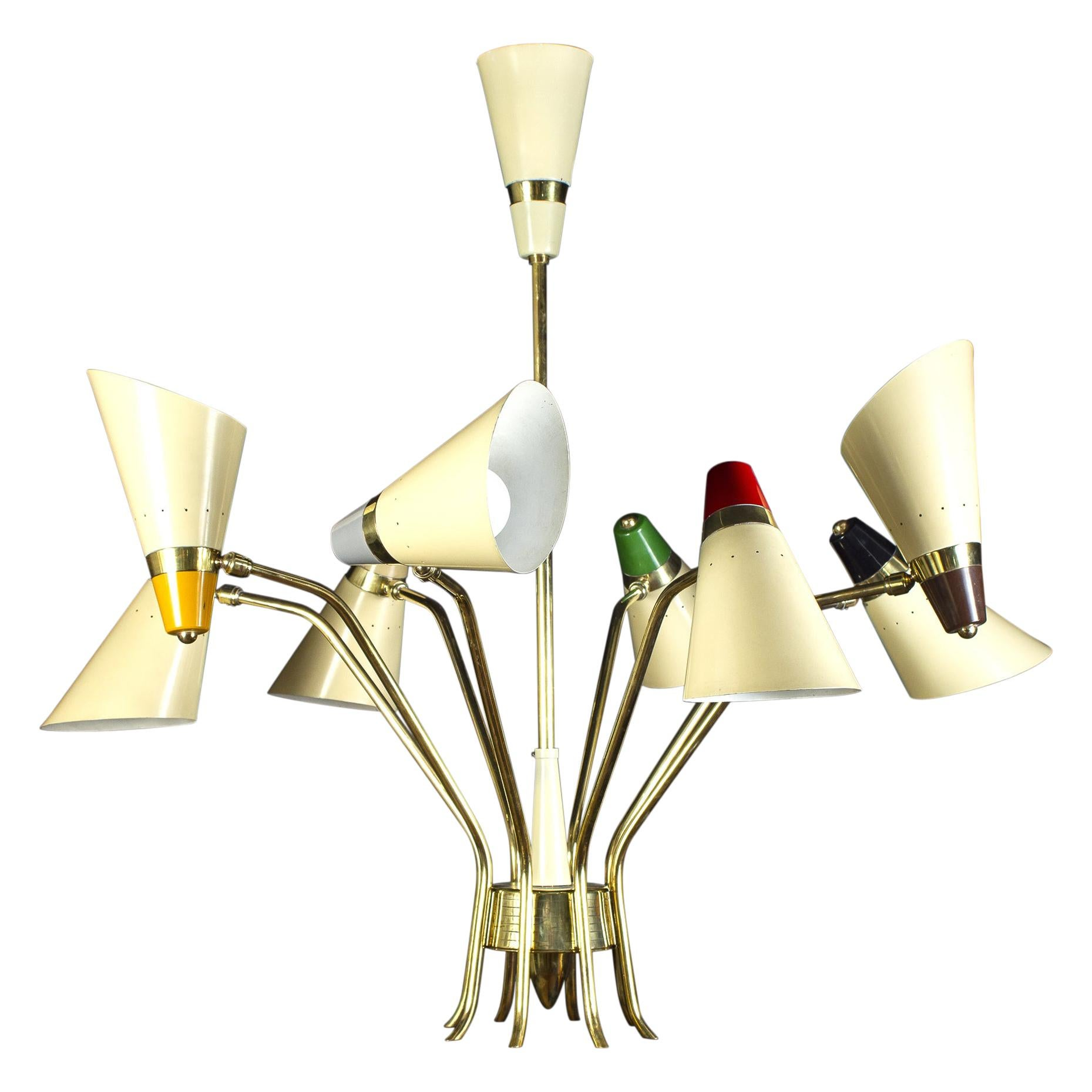 Stunning Midcentury Stilnovo Attr. Multi-Color Flexible Chandelier, 1958