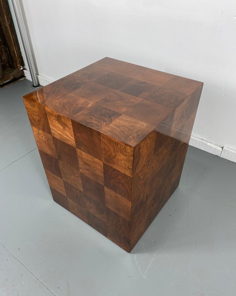 Stunning Milo Baughman patch work cube table / pedestal, amazing patch work woods, nice original finish, hand delivery avail to New York City or anywhere en route from Buffalo NY.