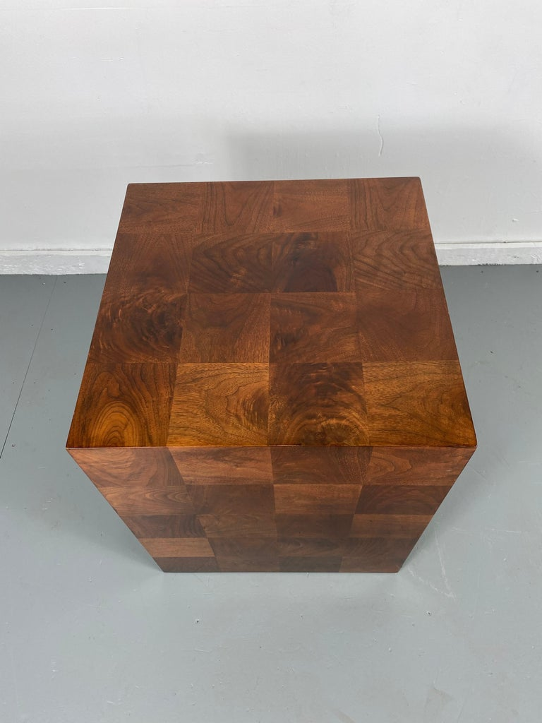 American Stunning Milo Baughman Patch Work Cube Table / Pedestal For Sale
