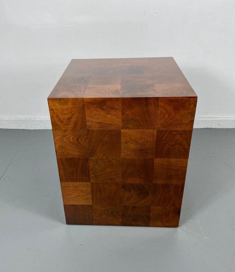 Stunning Milo Baughman Patch Work Cube Table / Pedestal In Good Condition For Sale In Buffalo, NY