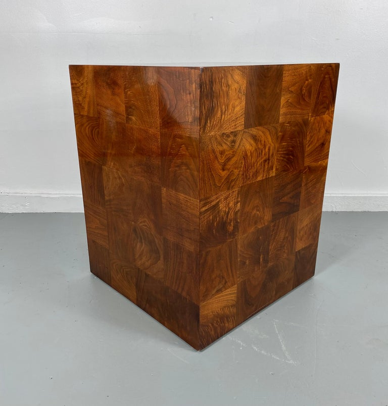Late 20th Century Stunning Milo Baughman Patch Work Cube Table / Pedestal For Sale