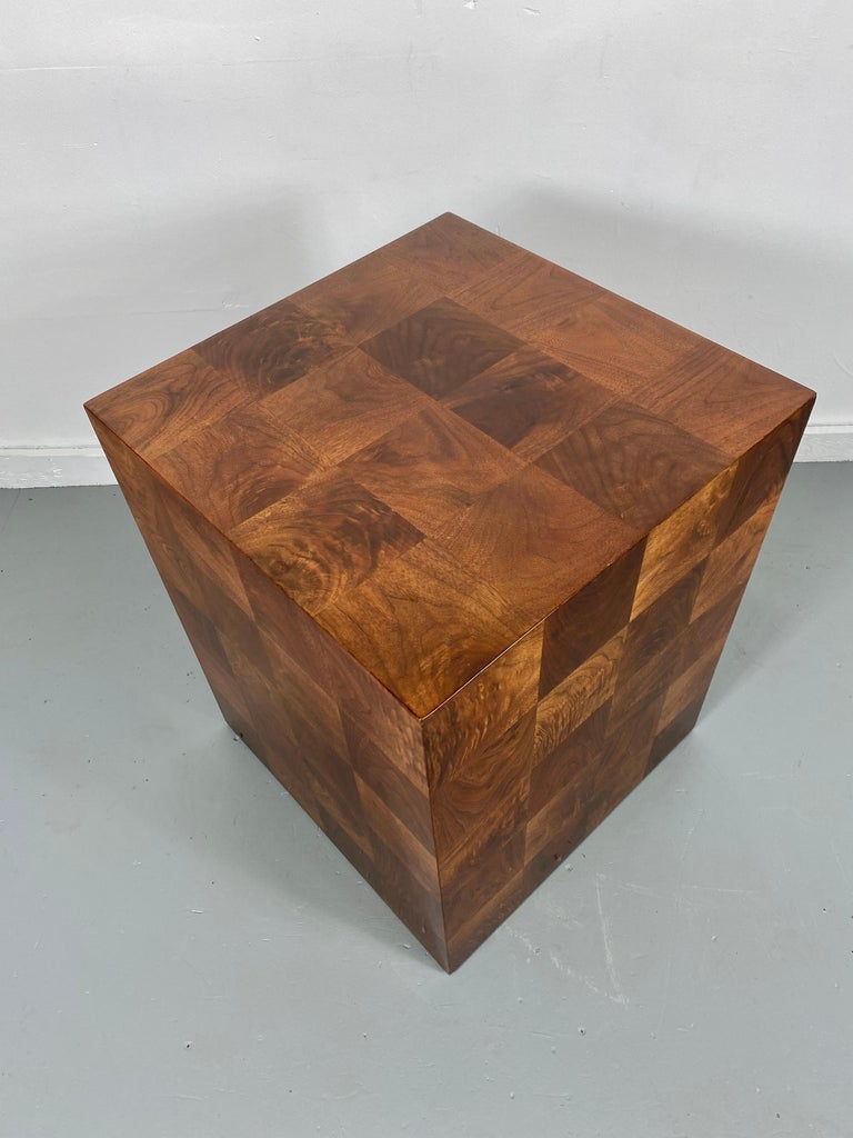 Wood Stunning Milo Baughman Patch Work Cube Table / Pedestal For Sale