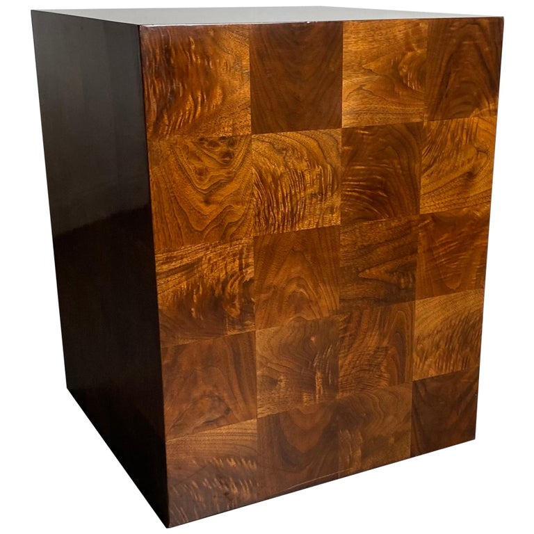 Stunning Milo Baughman Patch Work Cube Table / Pedestal For Sale