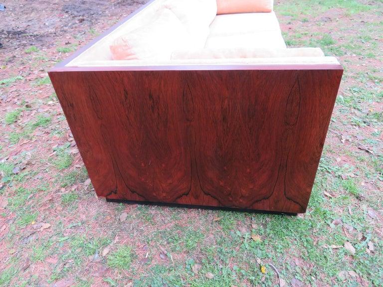 Upholstery Stunning Milo Baughman Rosewood Case Sofa Mid-Century Modern For Sale