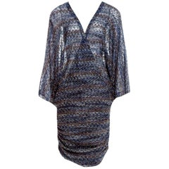Stunning Missoni Blue Lurex Kaftan Tunic Cover Up Mini Dress