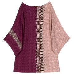 Stunning Missoni Chevron Crochet Knit Kaftan Tunic Cover Up Mini Dress