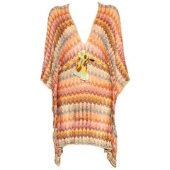Stunning Missoni Gold Metallic Crochet Knit Kaftan Tunic Dress