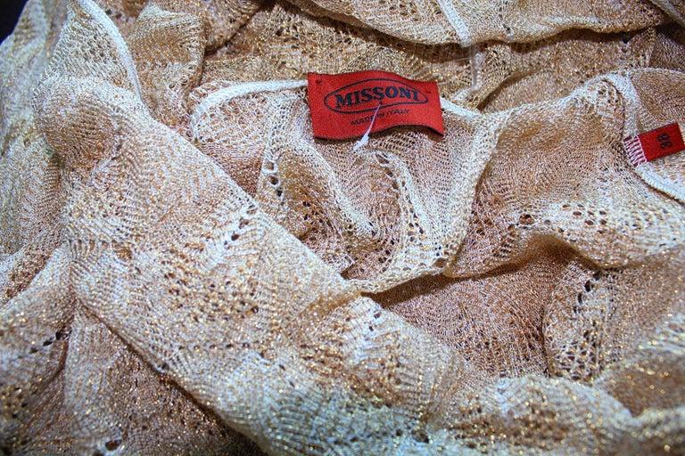 Women's Stunning Missoni Gold Metallic Crochet Knit Long Sleeves Dress For Sale