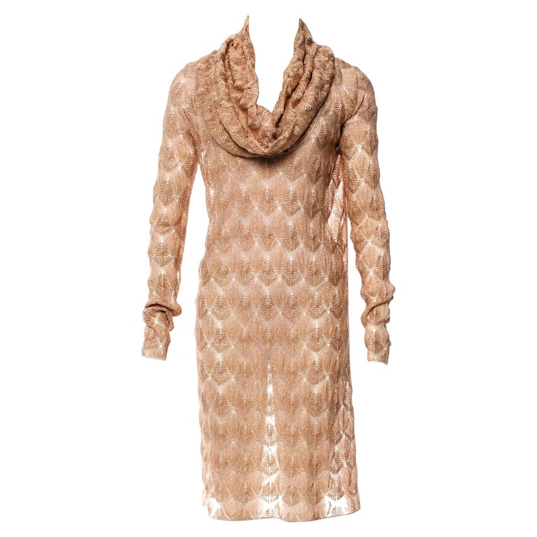 Stunning Missoni Gold Metallic Crochet Knit Long Sleeves Dress For Sale