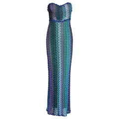 NEW Missoni Strapless Crochet Knit Lurex Evening Gown Maxi Dress