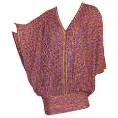 NEW Missoni Metallic Copper & Purple Lurex Multicolor Crochet Knit Kaftan Dress