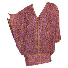 Stunning Missoni Metallic Copper Purple Lurex Crochet Knit Kaftan Dress