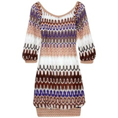 Stunning Missoni Multicolor Chevron Crochet Knit Dress