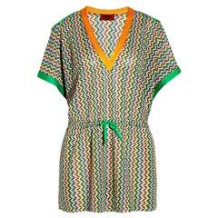 Stunning Missoni Open Shoulder Crochet Knit Kaftan Tunic Cover Up Dress