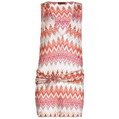 NEW Missoni Signature Chevron Crochet Knit Belted Tunic Mini Dress