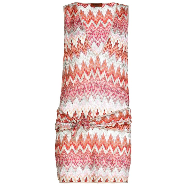 NEW Missoni Signature Chevron Crochet Knit Belted Tunic Mini Dress For Sale