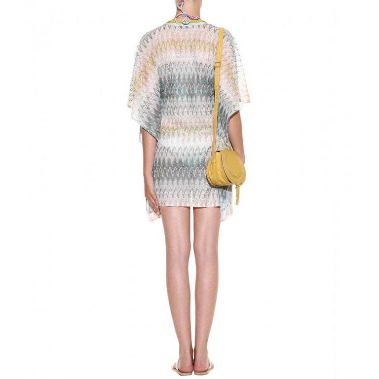 Women's Stunning Missoni Signature Chevron Crochet Knit Kaftan Tunic Cover Up Dress For Sale